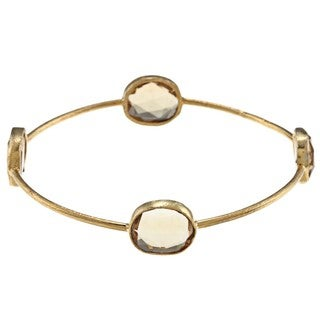 Miadora 22k Yellow Gold over Silver Synthetic Citrine Bangle Bracelet (16ct TGW)