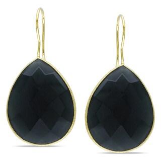 Miadora 22k Yellow Gold Overlay Grey Onyx Dangle Earrings (28ct TGW)