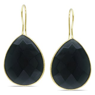 Miadora 22k Yellow Gold Overlay Grey Onyx Dangle Earrings (28ct TGW)