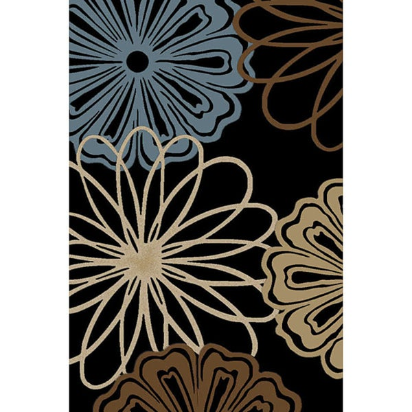 Mandly Flowers Black And Blue Area Rug 2 7 X 3 11 Free
