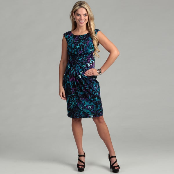 Connected Apparel Women's Teal Print Draped Dress