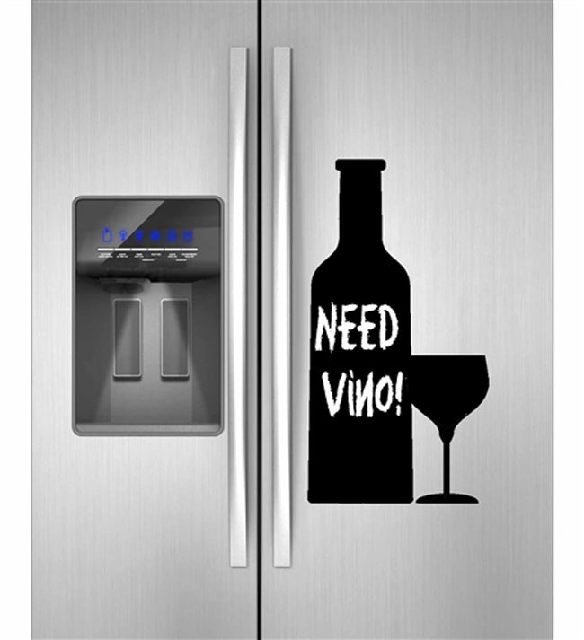 Instant Chalkboard Wine Bottle and Glass Sticker