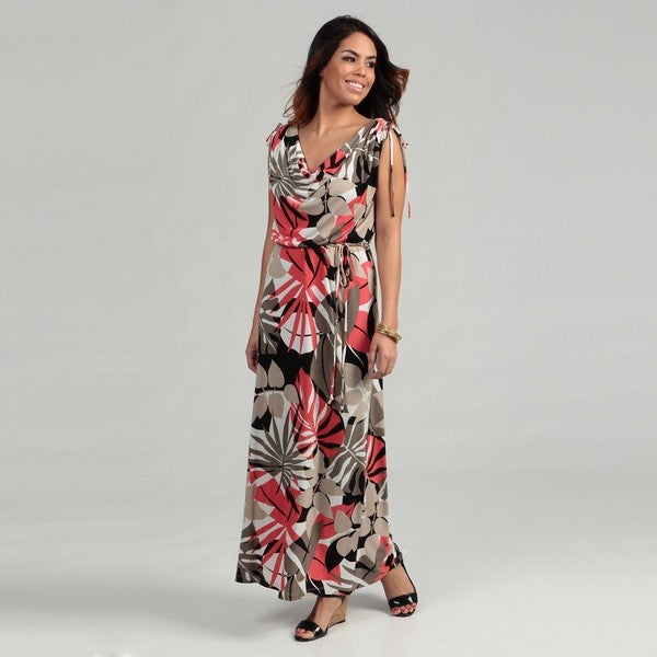 London Times Women's Soft White/ Coral Ruched Maxi Dress FINAL SALE