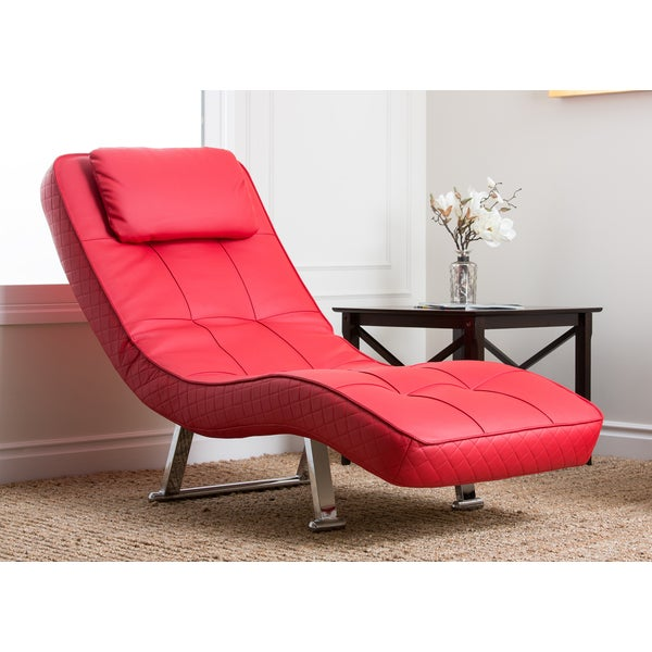 Abbyson living capri red euro chaise free shipping today for Abbyson living soho cream fabric chaise