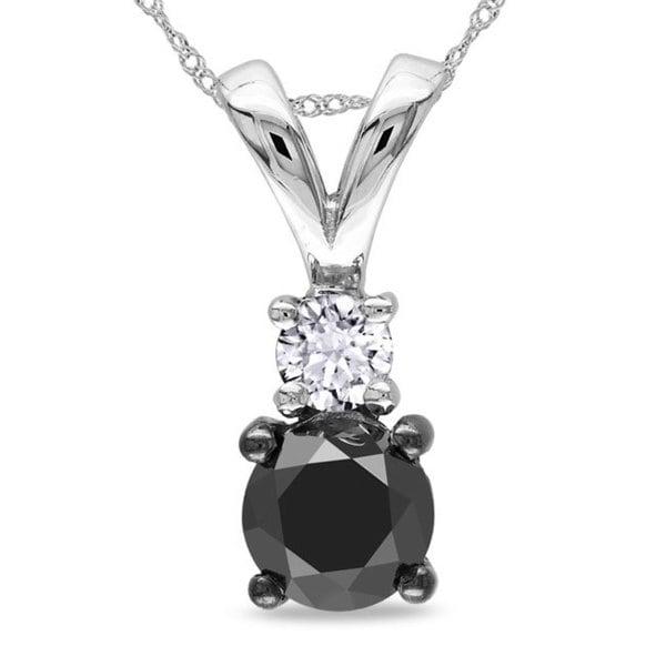 Miadora 10k White Gold 1ct TDW Black and White Diamond Necklace