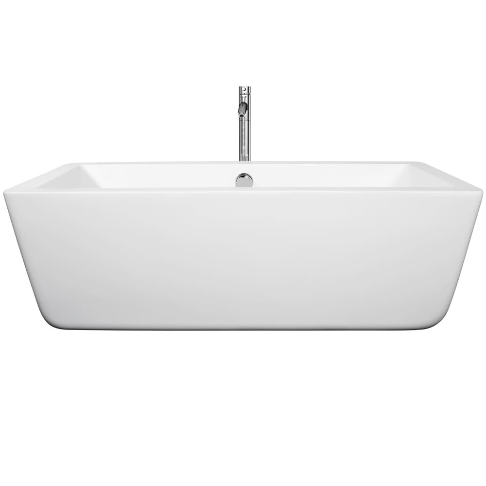 Wyndham Collection Laura Free Standing Soaking Bathtub (c...