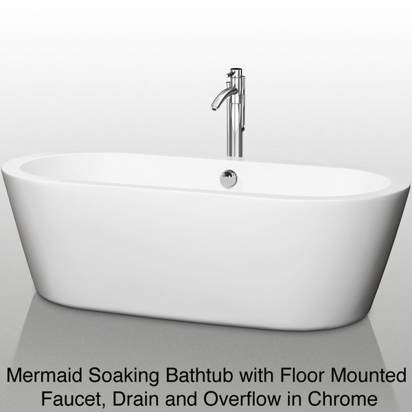 Wyndham Collection Mermaid Freestanding 71 Inch Soaking Bathtub   Free  Shipping Today   Overstock.com   14059896