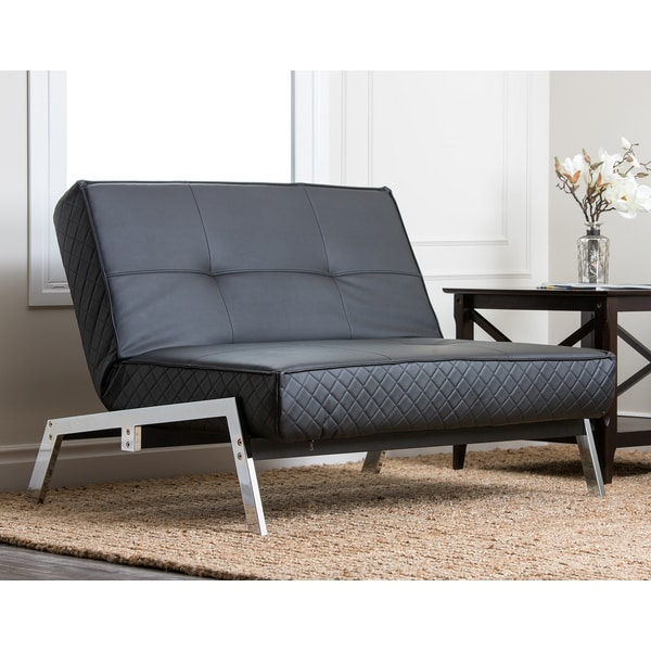 Abbyson living venice black convertible euro chair lounger for Couch 600 euro