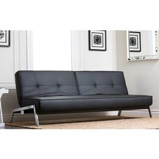 Abbyson Living Venice Black Convertible Euro Sofa Lounger