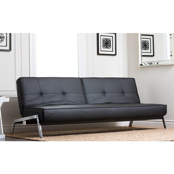 Abbyson living venice black convertible euro sofa lounger for Couch 600 euro