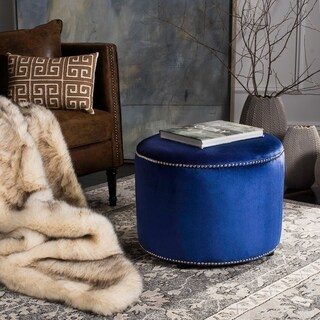 Safavieh Florentine Royal Blue Velvet Round Ottoman