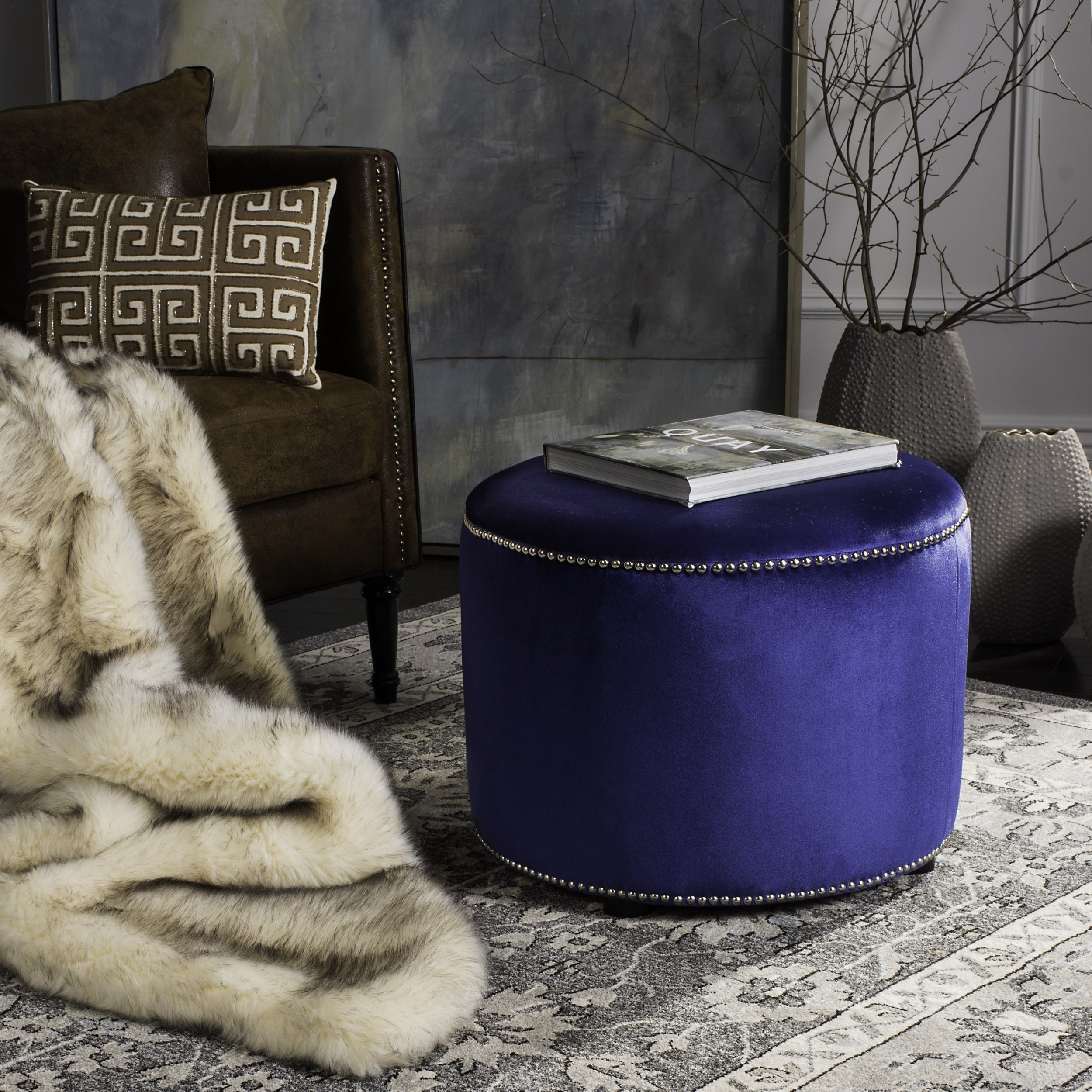Miraculous Safavieh Florentine Royal Blue Velvet Round Ottoman Gmtry Best Dining Table And Chair Ideas Images Gmtryco