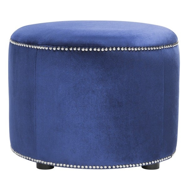 Safavieh Florentine Royal Blue Velvet Round Ottoman - Free ...