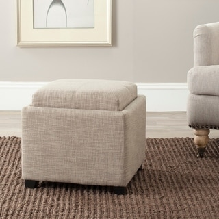 Safavieh Harrison Storage Grey Viscose Tray Ottoman