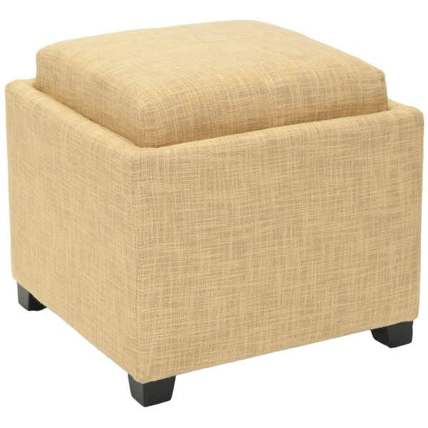 Safavieh Harrison Storage Gold Viscose Tray Ottoman