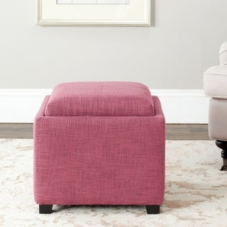 Safavieh Harrison Storage Rose Viscose Tray Ottoman