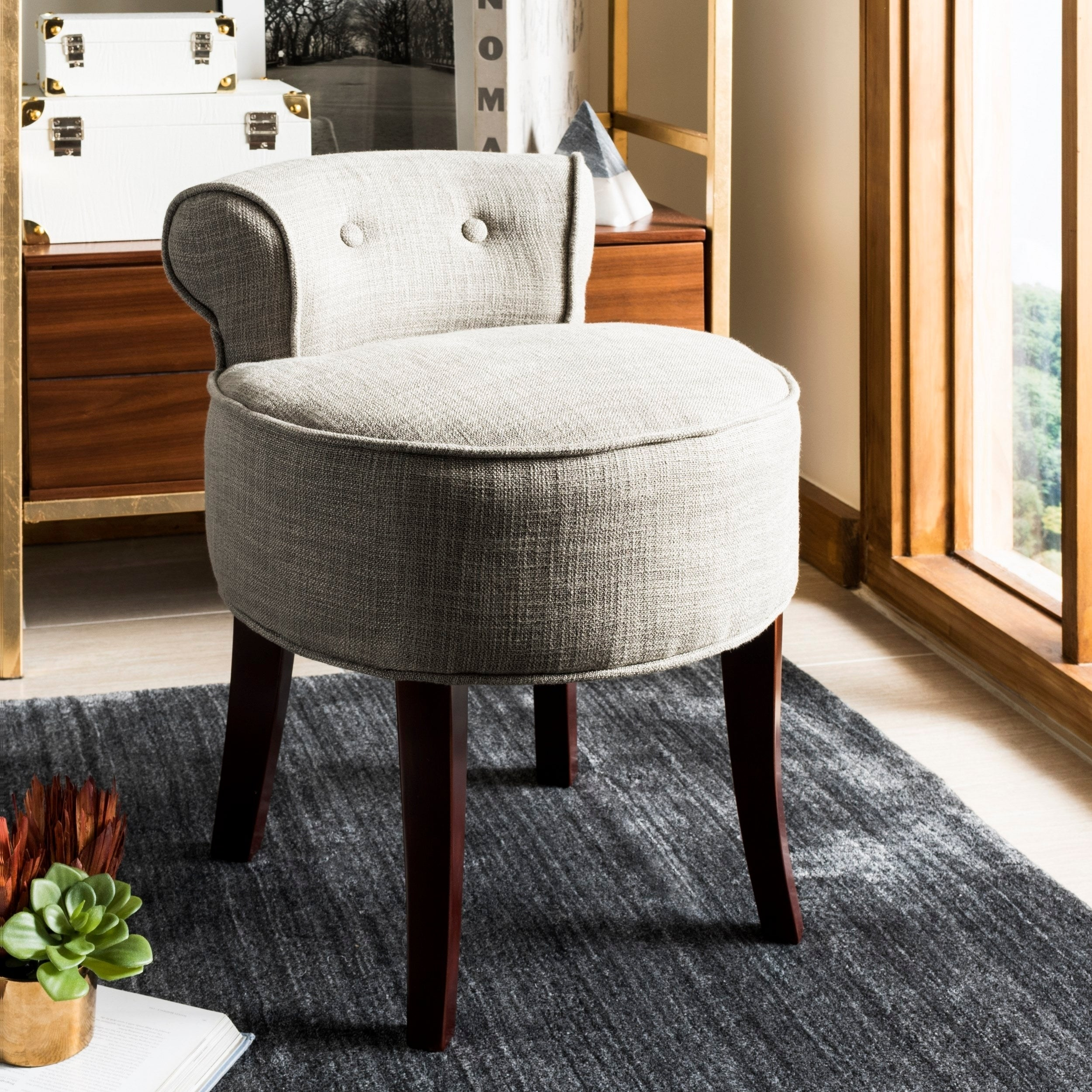 Safavieh Rochelle Dark Grey Petite Vanity Chair 17 9 X 19 X 22 8 On Sale Overstock 6462798
