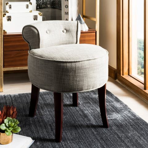 "Safavieh Rochelle Dark Grey Petite Vanity Chair - 17.9"" x 19"" x 22.8"""