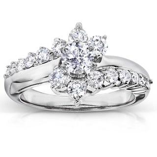 Annello by Kobelli 14k White Gold 1ct TDW Floral Round Diamond Ring