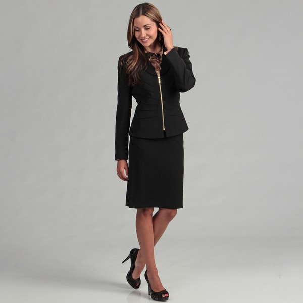 Tahari Women's Black Goldtone Zipper Skirt Suit