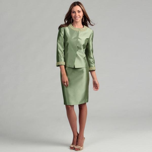 Tahari Women's Sage Green Beaded Skirt Suit