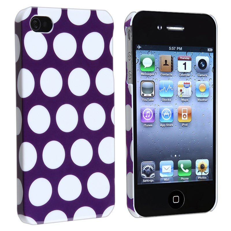INSTEN Purple with White Dot Rear Snap-on Phone Case Cover for Apple iPhone 4/ 4S