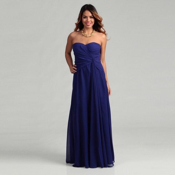 Hailey Adrianna Papell Sapphire Pleated Chiffon Dress