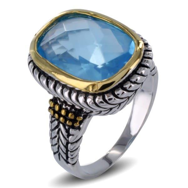 Two-tone Aqua Blue Resin Stone Antiqued Ring