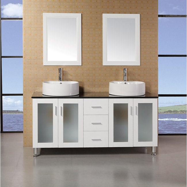 vinnova tuscany 60 inch white double vanity with white vessel sink and