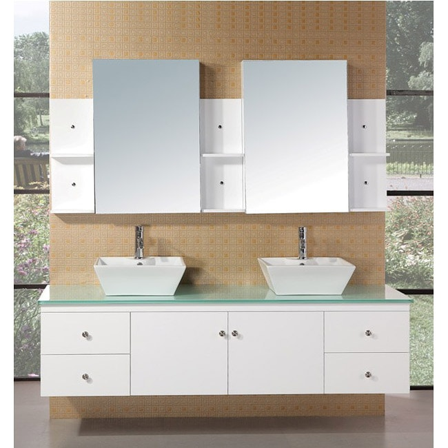 Design element portland double sink pearl white oak bathroom vanity set free shipping today for Bathroom vanity portland oregon