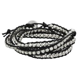 Silvertone Beaded Wrap-around Bracelet