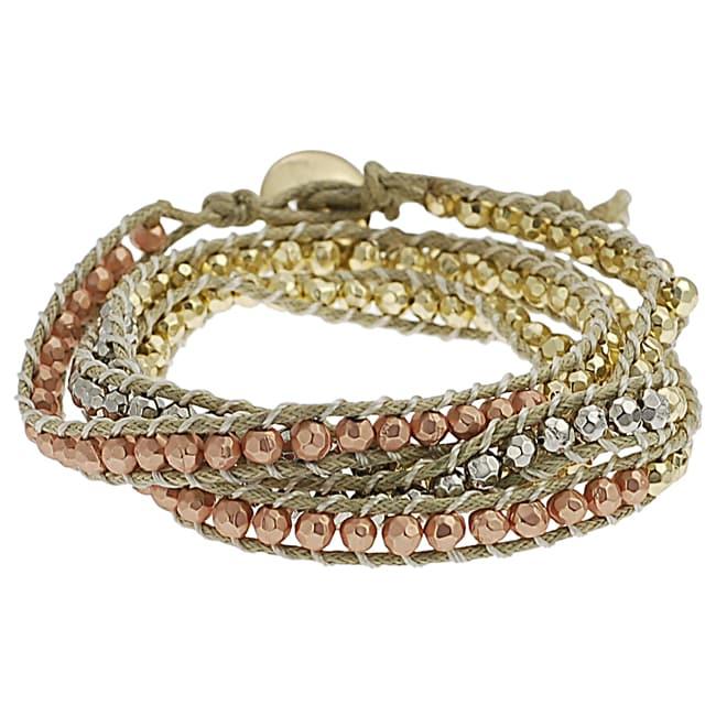 Silvertone, Goldtone and Coppertone Beaded Wrap-around Bracelet