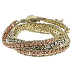 Silvertone, Goldtone and Coppertone Beaded Wrap-around Bracelet