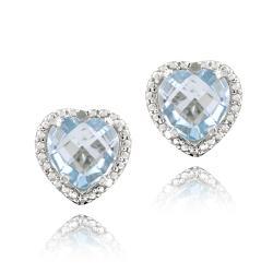 Glitzy Rocks Sterling Silver Blue Topaz and Diamond Earrings (4 1/3ct TGW)
