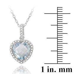 Glitzy Rocks Sterling Silver Blue Topaz and Diamond Necklace (2. 1/6ct TGW)