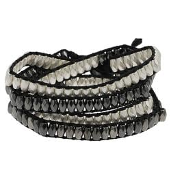 Silvertone and Black Beaded Wrap-around Bracelet