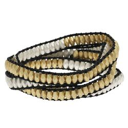 Antiqued Silvertone-and-Goldtone Beaded Wrap-Around Bracelet