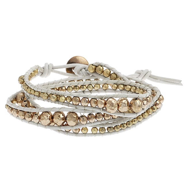 Goldtone and Coppertone Beaded Wrap-around Bracelet
