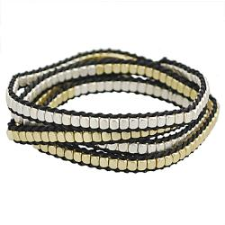 Silvertone and Goldtone Beaded Wrap-around Bracelet