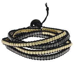 Goldtone and Black Beaded Wrap-around Bracelet