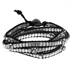 Silvertone Rhinestone Wrap-around Bracelet