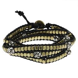 Goldtone Rhinestone Wrap-around Bracelet
