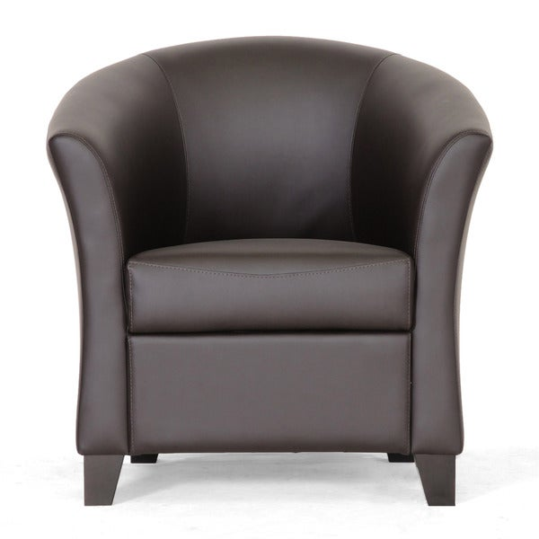 Bourke dark brown leather modern club chair free for Modern leather club chair