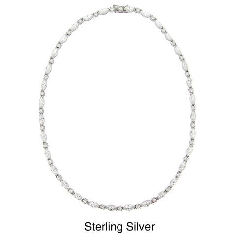 Icz Stonez Sterling Silver Cubic Zirconia 16-inch Link Necklace (35ct TGW)