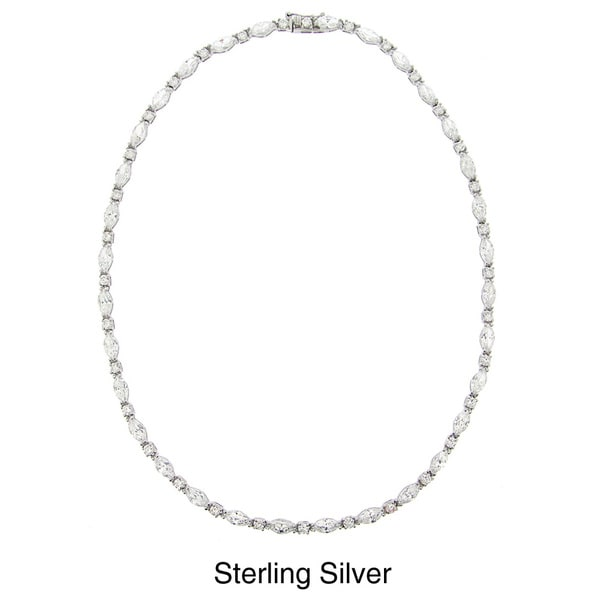 Icz Stonez Sterling Silver Cubic Zirconia 16-inch Link Necklace (35ct TGW). Opens flyout.