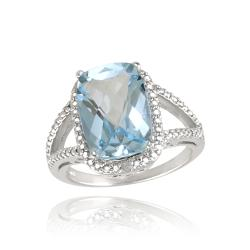 Glitzy Rocks Sterling Silver Blue Topaz and Diamond Ring (7 1/6ct TGW)