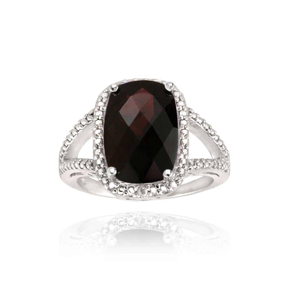 Glitzy Rocks Sterling Silver Garnet and Diamond Accent Ring (7ct TGW) - Thumbnail 0