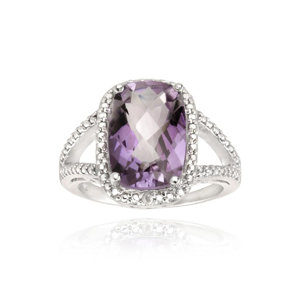 Glitzy Rocks Sterling Silver Amethyst and Diamond Accent Ring (5 1/10ct TGW)