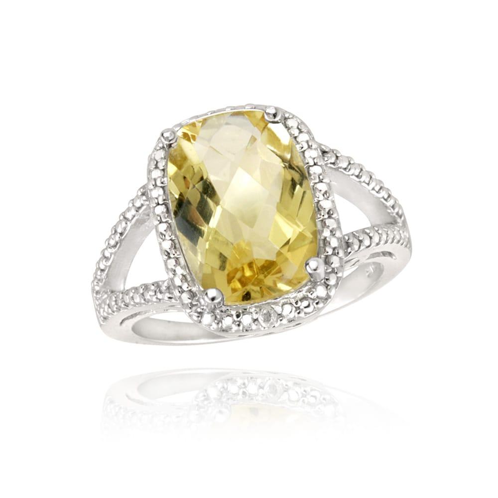 Glitzy Rocks Sterling Silver Citrine and Diamond Ring (5 1/10ct TGW)