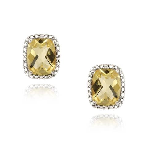 Glitzy Rocks 18k Gold over Silver Citrine and Diamond Earrings (4ct TGW)